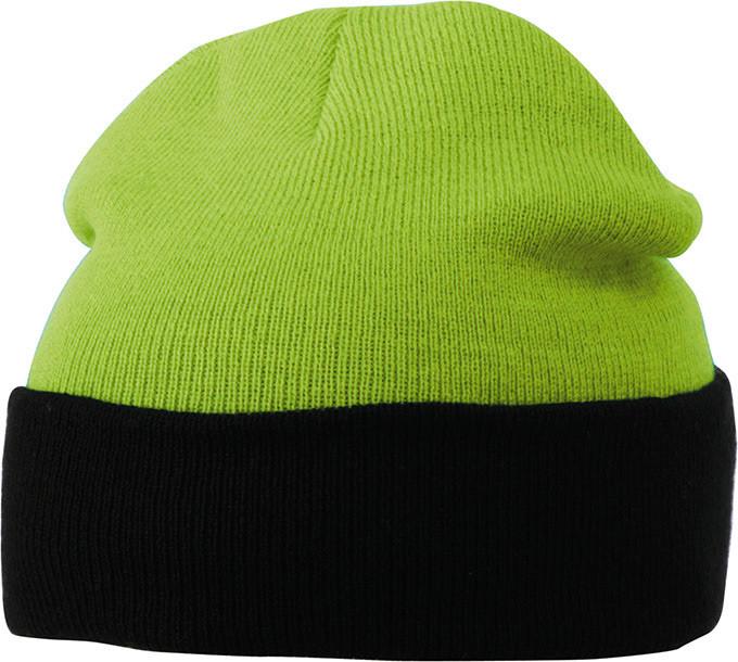 Вязаная шапка с отворотом комбинированая цвет лайм/чёрный mb7550