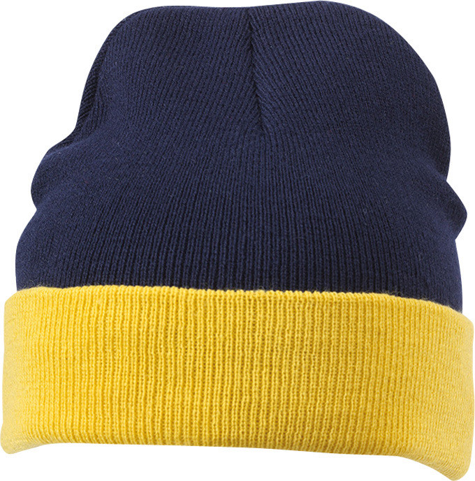 Вязаная шапка с отворотом комбинированая цвет тёмно-синий/жёлтый mb7550