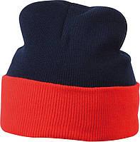 Вязаная шапка с отворотом комбинированая цвет тёмно-синий/красный mb7550