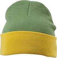 Вязаная шапка с отворотом комбинированая цвет оливковый/жёлтый mb7550
