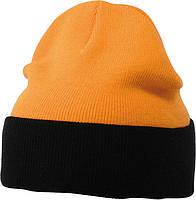 Вязаная шапка с отворотом комбинированая цвет оранжевый/чёрный mb7550