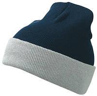 Вязаная шапка с отворотом комбинированая цвет тёмно-синий/серый mb7550