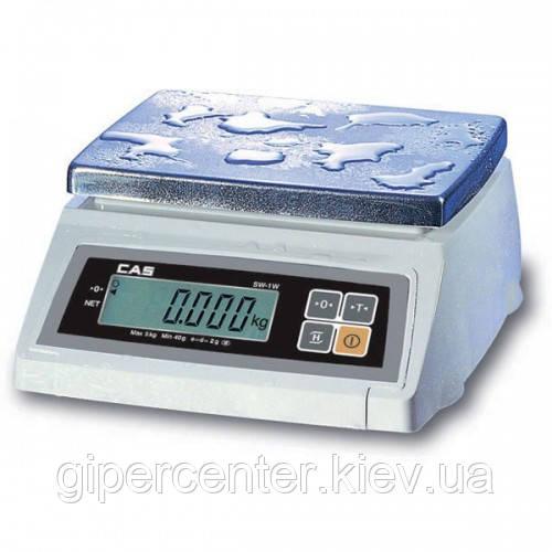 Весы фасовочные CAS SW-5W до 5 кг; дискретность 1/2 г, влагозащищенные
