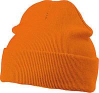 Вязаная шапка с отворотом  цвет оранжевый mb7500