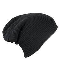 Трикотажная шапка длинный крой  цвет чёрный mb7955