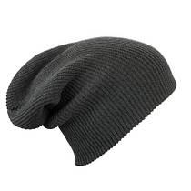 Трикотажная шапка длинный крой  цвет тёмно-серый mb7955