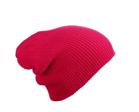 Трикотажная шапка длинный крой  цвет малиновый mb7955