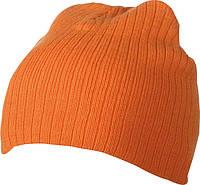 Класичесская шапка ребристая вязка  цвет оранжевый mb7923