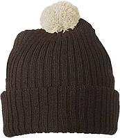 Вязаная шапка с помпоном  цвет шоколадный/хаки mb7540