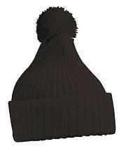 Вязаная шапка с помпоном  цвет чёрный mb7540
