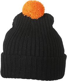 Вязаная шапка с помпоном  цвет чёрный/оранжевый mb7540