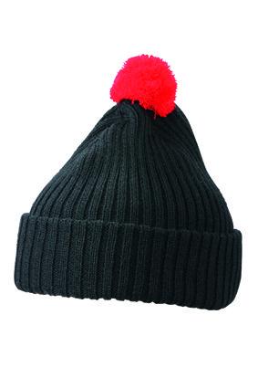 Вязаная шапка с помпоном  цвет чёрный/красный mb7540