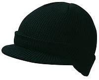 Вязаная шапка с козырьком цвет чёрный mb7530