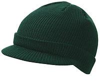 Вязаная шапка с козырьком цвет тёмно-зеленый mb7530