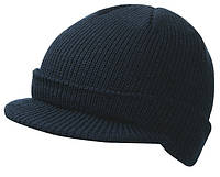 Вязаная шапка с козырьком цвет тёмно-синий mb7530
