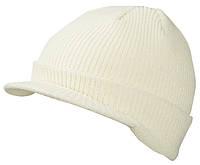 Вязаная шапка с козырьком цвет белый mb7530