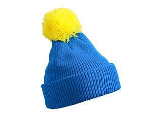 Шапка с помпоном   цвет ярко-синий/жёлтый MB7967