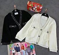 Жакет белый трикотаж LUX копия бренда, фото 1