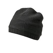 Утеплённая Длинная шапка Beanie цвет чёрный MB7994
