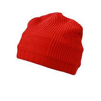 Утеплённая Длинная шапка Beanie цвет красный MB7994