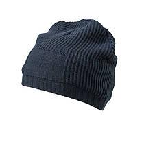 Утеплённая Длинная шапка Beanie цвет тёмно-синий MB7994