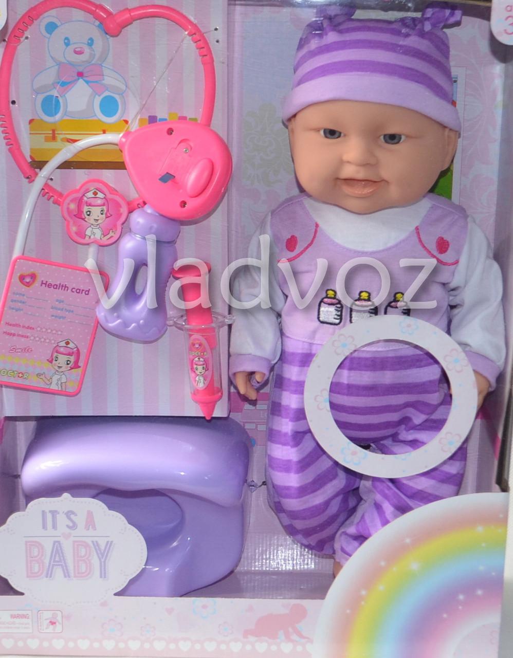 Упаковка куклы пупса фиолетовый боди 8 предметов