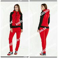 Женский теплый спортивный костюм с контрастными рукавами