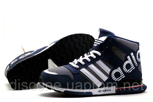 Зимние кроссовки Adidas, на меху, темно-синие с серым