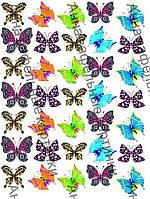 Вафельные картинка бабочки разноцветные