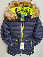 Куртка зимняя на девочку подросток SPEED.A с тремя пуговицами большая Темно-синий