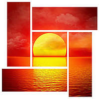 "Модульная картина ""Закат на море"" 144x144 см"
