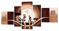 """Модульная картина """"Диалог в Саванне"""" 185x95 см"""