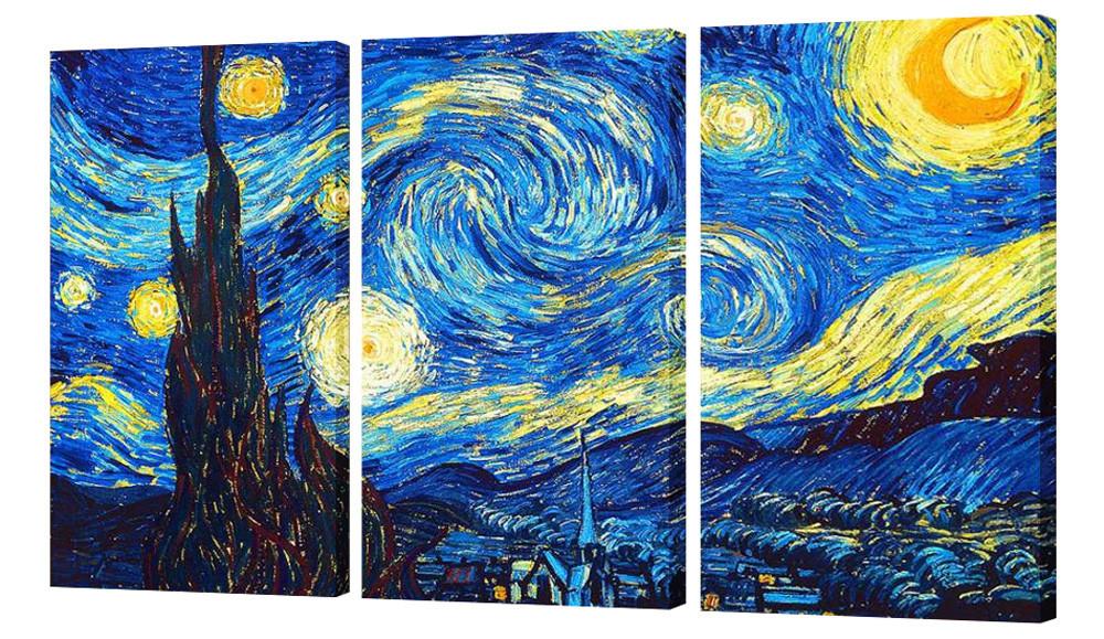 """Модульная картина """"Ван Гог - Звездная ночь"""" 160x99 см"""