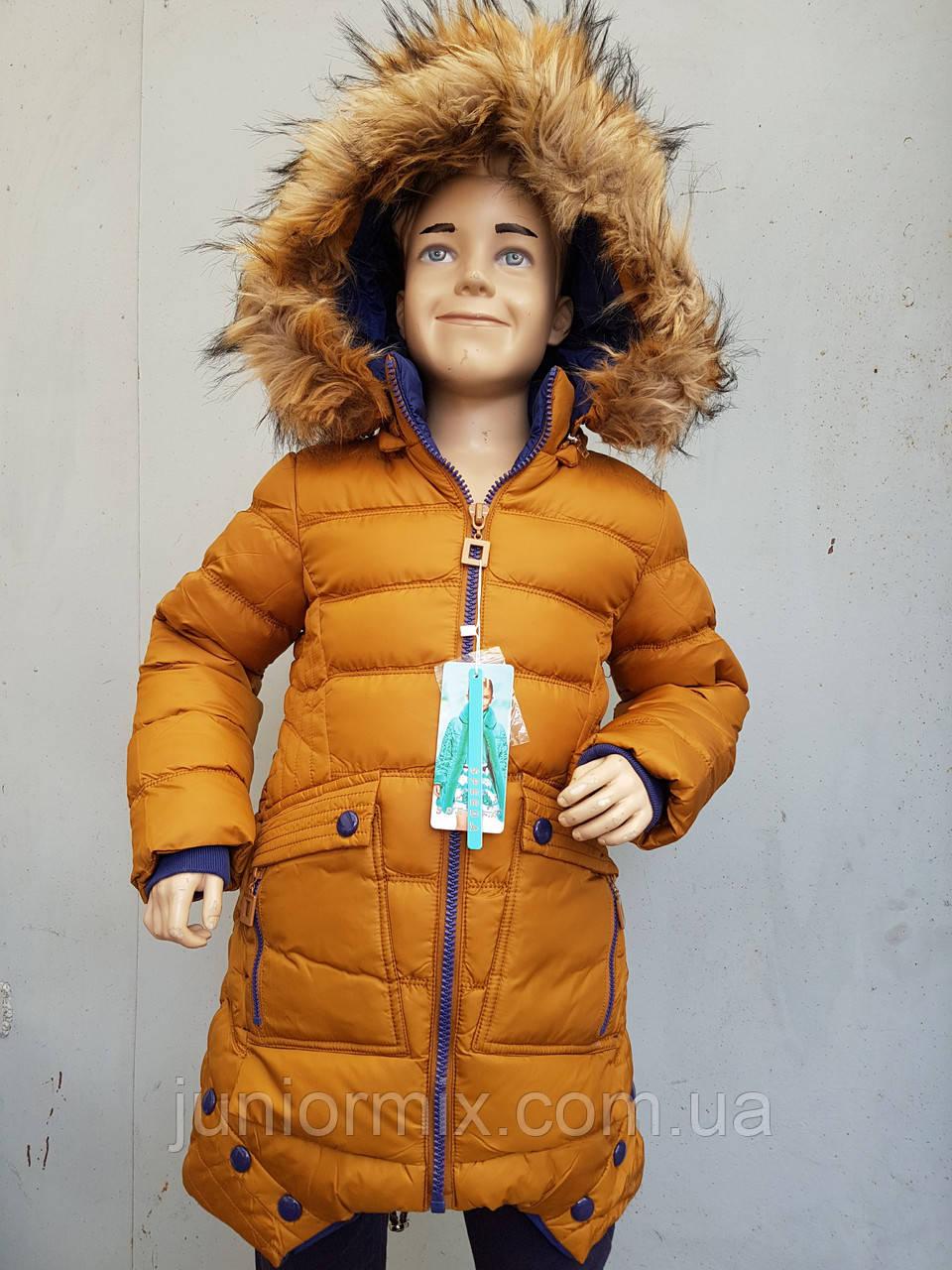 Куртка зимняя на девочку подросток SPEED.A с тремя пуговицами средняя