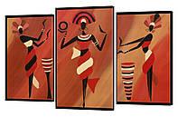 """Модульная картина """"Африканское трио"""" 159x99 см"""
