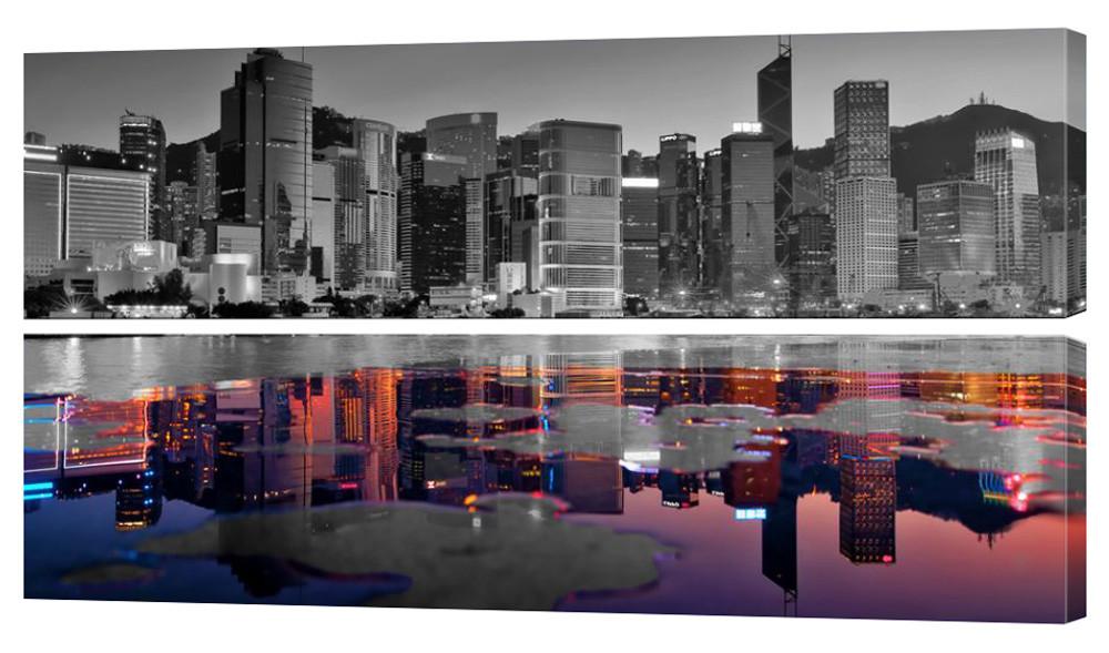 """Модульная картина """"Цветное отражение города"""" 132"""