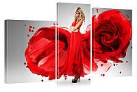 """Модульная картина """"Платье-роза"""" 323"""