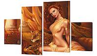 "Модульная картина ""Жрица с леопардом"" 259"