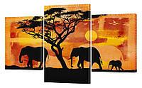 """Модульная картина """"Слоны в Саванне"""" 188"""