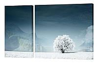 """Модульная картина """"Дерево в снегу"""" 152x99 см"""