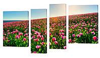 """Модульная картина """"Цветочное поле"""" 166x100 см"""