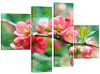 """Модульная картина """"Ветка с цветами"""" 145x106 см"""