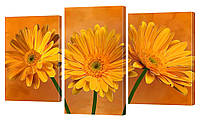 """Модульная картина """"Оранжевое настроение: герберы"""" 160х99 см"""