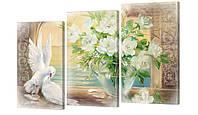 """Модульная картина """"Белые голуби и розы"""" 163х99 см"""