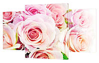"""Модульная картина """"Нежно-розовые розы"""" 205x132 см"""