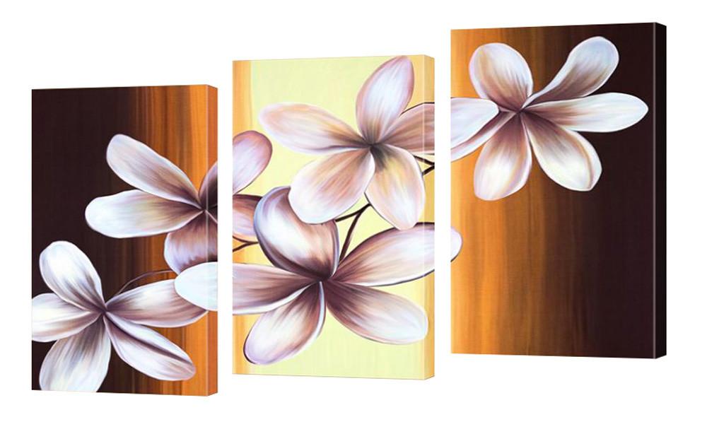 """Модульная картина """"Рисованные плумерии"""" 175x105 см"""