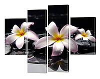 """Модульная картина """"Цветы на воде"""" 120x110 см"""