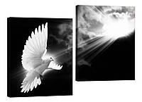 """Модульная картина """"Белый голубь"""" 176x116 см"""