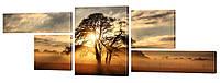 "Модульная картина ""Закат в Саванне"" 270x99 см"