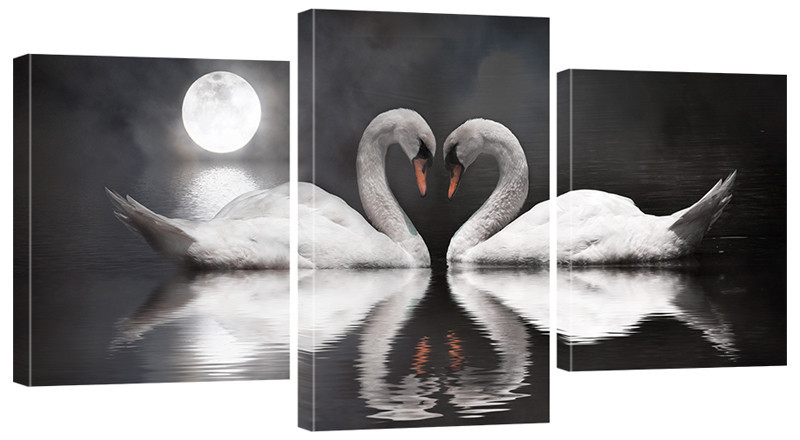 "Модульная картина ""Лебеди"" 160x80 см"